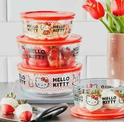 Pyrex Hello Kitty 8 Piece Set 4 Bowls And Lids Decorated Glass Food Storage