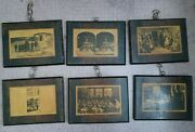 1 Of A Kind Lot Of 6 Unique Vintage Photos On Wooden Plaques W Chains 1870-1940