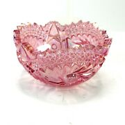 Imperial Glass Sawtooth Pink Bowl Ice Carnival Glass 7.5 Vintage Heavy Cut