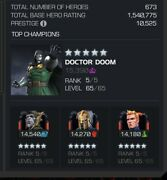 Marvel Contest Of Champions Account Mcoc -1.5 Mil 10.5k Prestige + Email