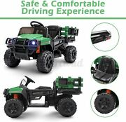 12v Ride On Tractor With Trailer Kids Truck Car Toy Remote Control Multi Speeds