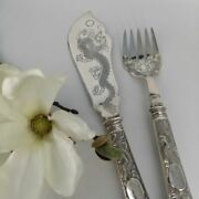 Antique Fish Serving Cutlery In Silver From China Um 1900