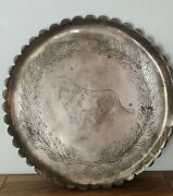 Antique Arts And Crafts Movement Brass Lion Tray