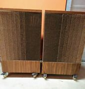 Vintage Pair Bose 501 Direct Reflecting Speakers / Syncom / On Casters Working