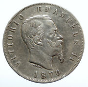 1870 Mbn Italy King Victor Emmanuel Ii Silver 5 Lire Antique Italian Coin I95905