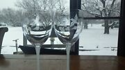 Hummingbird Water Glasses Goblets By Avon Frosted Stems 2 Nwot 24 Lead Crystal