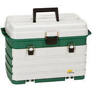 Plano Fishing Gear Organizer Tackle Box W/ Removable Bait Racks And 4 Trays Green
