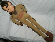 Vintage Davy Crockett Doll With Plastic Celluloid Face, 40 Tall