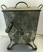 Antique Fries Lidded Metal Tin Butter Churn With Handle Sifter Mixer 10 1/2 Tall
