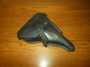 Wwi German Army - Luger P.08 Parabellum Leather Hard Shell Holster -