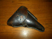 Ww Ii German Army - Luger P.08 Parabellum Leather Hard Shell Holster - Repair