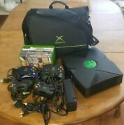 Microsoft Original Xbox Console 4 Controllers 7 Games Cable Bag Power Supply Lot