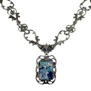 Pz Or Paz Israel Roman Glass Sterling Silver Necklace 18 Inches Long