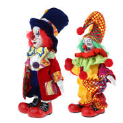 2 Pieces 7inch Lovely Clown Man Dolls Figure Halloween Decor Collectible