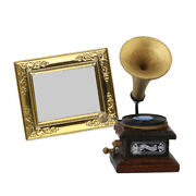 Phonograph Record Cd Player And Golden Frame Mirror, 1/12 Dollhouse Crafts