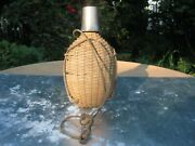 Woven Wicker Flask Demijohn With Metal Screw-on Drinkingcup French Vintage