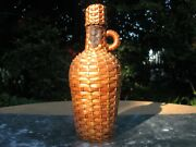 Woven Wicker Demijohn With Handle And Wicker Cap French Vintage