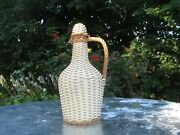 White W/tan Woven Wicker Demijohn With Handle And Wicker Cap French Vintage