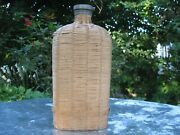 Woven Wicker Flask Demijohn With Metal Cap French Vintage