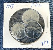 1943 P D S Steel Wheat Head Lincoln 3 Penny Set Real Nice Vg-au Real
