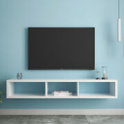 Shallow Floating Wood Tv Console Cabinet Tv Stand Wall Mount With Storage Us