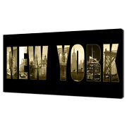 New York Collage Sign Modern Home Decor Canvas Print Wall Art Picture