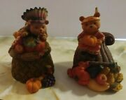 Vintage Home Interiors Thanksgiving Bears Trinket Boxes Figurines 2003 New