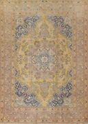 Vintage Floral Kashmar Hand-knotted Gold Area Rug Evenly Low Pile 9and039x12and039 Carpet