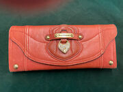 Juicy Couture Genuine Rose Pink Leather Trifold Wallet Rhinestone Heart