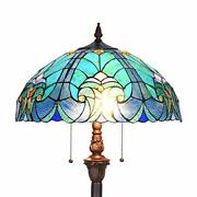 Floor Lamp,stained Glass Lamp Shade,vintage Antique Style Standing Doubl
