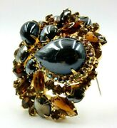 Vintage De Lizza And Elster Dazzling Hematite And Root Beer Rhinestone Brooch Or Pin