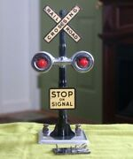 Marx 0 / 027 Railroad Crossing Gate Sign W/ 2 Red Lights Tested Works