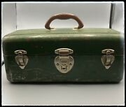 Vintage Dark Green Tackle Tool Box Union Steel Chest Corp Leroy Ny Model 8007