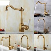 Antique Bronze Kitchen Faucets 360rotate Swivel Hot Cold Water Tap Mixer Kitchen