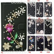 For Apple Iphone 13 Mini Bling Flip Leather Slots Wallet Case Cover With Strap