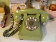 Antique Vintage Rotary Telephone Avocado Green Table Top Phone