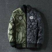 Menand039s Bomber Style Long Sleeve Jacket Windbreaker Polyester Material Zip Closure
