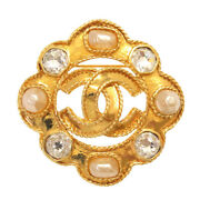 Authentic Cocomark Vintage Brooch Gold Faux Pearl Stone 0249