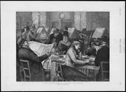1892 Antique Print - London Free Library Reading Room Newspapers Books 212