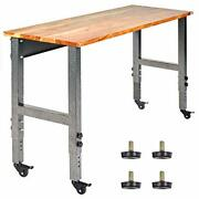 Fedmax Work Bench - 61-inch X 28 To 44-inch Acacia Wood Garage Work Table With