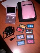 Pink Nintendo Gameboy Advance Sp With Charger And Games Ags-101 Backlit