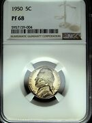1950 Ngc Pf 68 Jefferson Nickel ☆☆ Great For Sets ☆☆ 004