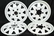 1970's White Gs Del-met Hubcaps Trailer 15 Gm Camper Rv Mag Style Set Of 4
