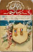 Ellen Clapsaddle Signed Gar Patriotic Medals Chi And Mil Rpo Postcard G66 As Is