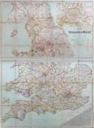 C1920 Map Of England And Wales Railways Roads Pair Of Folding Maps Bacon Fm2