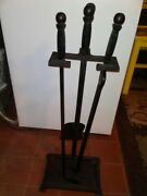 Antique Peerless 845 Cast Iron Fireplace Wood Stove Tool Set With Stand