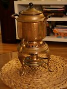 Antique Kettle Samovar Manning And Bowman And Co Meteor Full Set And Alcohol Lamp