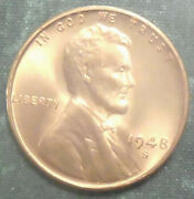 1948 S Wheat Penny Bu Full Red Brilliant Uncirculated San Fran Swirling Luster
