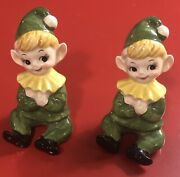 Vintage 1950s Lefton Made In Japan 2 Pixie Elf Figurines In Green Outfits