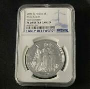 2021 St. Helena The Three Graces 1 £ Silver Coin Ngc Pf70 Uc
